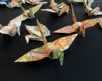 Map Origami Birds 10cm X 50 Vintage French Map - Origami Birds - Folded Paper Birds - Wedding Decoration - Baby Shower - Paper Decorations