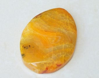 Orange Agate Druzy Faceted Slab Stone Bead - Yellow Gold Agate Slab Bead Pendant Gemstone - 43mm x 58mm - 5312