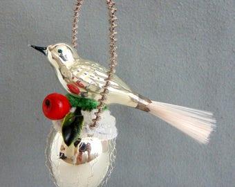 Vintage German Glass Christmas Tree Ornament Bird On Nest