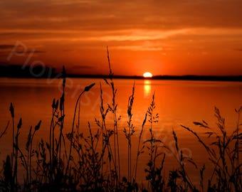 Beautiful Red Sunset Over Water // Illinois Sunset Photograph // Sunset Print // Red Sunset Photo