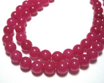 1 Strand Red Faceted Natural Jade Stone Beads 6mm Dyed