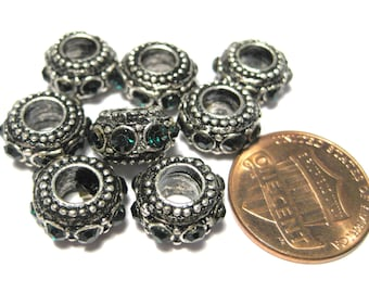 5pcs Antique Silver Large Hole European Rondelle Spacer Beads With Dark Green Rhinestones