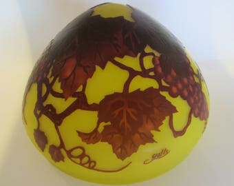 Galle Reproduction Cameo Glass Lamp Shade With Signature