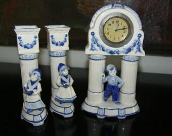 Blue Delfts Holland Porcelain Clock Candle Holders Dutch Portraits