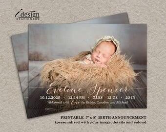 Baby Announcement Card | DIY Printable Newborn Announcement Cards | Baby Girl Announcement Card | New Baby Boy Photo Card