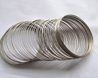 24loops Findings,silver MEMORY wire 1mm for bracelets,metal findings ,round circle