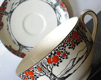 Crown Ducal Orange Tree Cup and Saucer Vintage 1920's