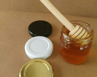 40 honey & dipper, undecorated jars, and 40 dippers 1.5oz local honey, metal lid gold, black, or white, love is sweet, meant to bee