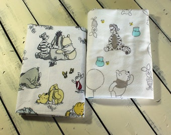 Set of Two Premium Large Winnie the Pooh Flannel Receiving Blankets