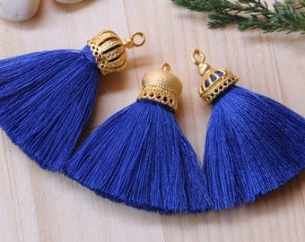 "1 pc Gold Cap Tassel, 4cm/1.6"" Inches Large Tassels, Gold Plated Cap Long Tassels, CHOOSE YOUR CAP, Mala Necklace Tassel, Saxe Blue #38"