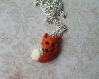cute Fox necklace red polymer clay