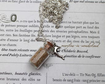 vial with sand Dolphin charm necklace