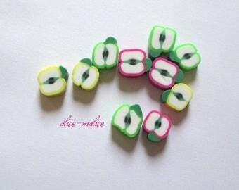 Lot de 10 Miniature perles pommes à croquer rose, jaune, verte !!