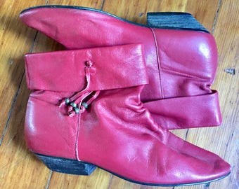 80's Red Leather slouch boots size 7.5