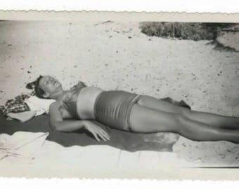 Vintage Retro 1940s B&W Snapshot Photo Girl Sleeping Beach Bathing Suit Sun