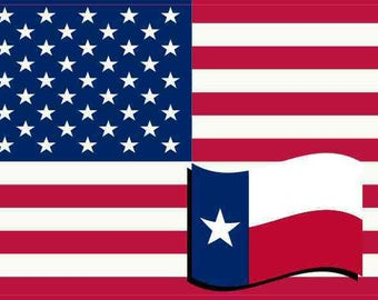 5×3 United States Of America and Texas Flag Sticker Vinyl Patriotic Decal