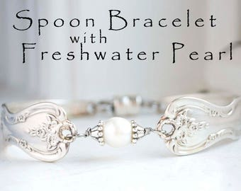 Reserved~ 4 Spoon Bracelets with Freshwater Pearl