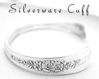 Cuff Bracelet Vintage Silverware Jewelry, Spoon Handle Cuff Bracelet  Gifts Under 25 Floral Silverware Jewelry  Royal Rose