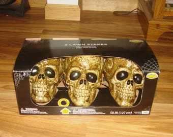 set of 3 halloween skulls light and sound noise activated pathway markers outdoor decor