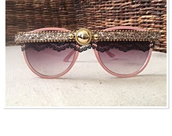 Sweetheart Ice Pink Embellished Sunglasses