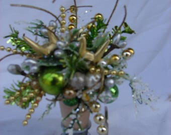 Miniature Handmade Christmas Floral Arrangement Gift Home Decor