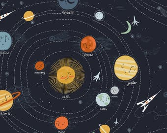 Outer space fabric etsy uk for Outer space themed fabric