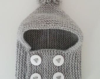 Hat(Cap) cowl for born babies in 24 months hand-knitted woolen intoxicates(tints) with buttonhole and pompom