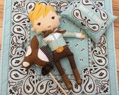 Howdy Cowboy Doll Panel, Cowboy Doll by Stacy Iest Hsu for Moda Fabrics, Hobby Horse, DIY Doll, 20550-11,  IN STOCK