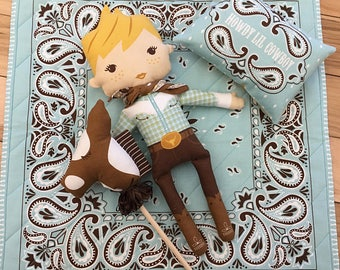Howdy Cowboy Doll Panel, Cowboy Doll by Stacy Iest Hsu for Moda Fabrics, Hobby Horse, DIY Doll, 20550-11,  IN STOCK