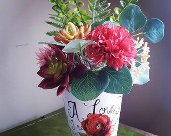 Succulent Arrangement, Faux Plants, Faux Flowers, Succulents and Flowers, Floral Arrangement, Red Flowers, Mother's Day Flowers