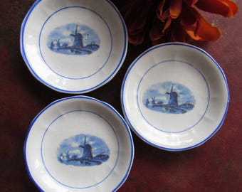 Butter Pats, Set of Three, Vintage; Dutch Dishes, Holland Dishes, Netherlands Dishes, Dutch Dining, Windmill Dishes