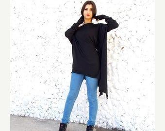 SALE 15% OFF Black Top / Plus Size Loose Tunic / Maternity Top / Tunic Dress / Long Sleeved Top / Black Tunic TT04