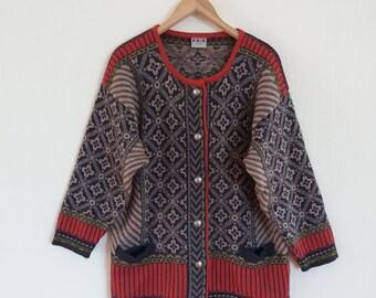 Vintage Norwegian Knitted Women's Wool  Jacket Size XLarge