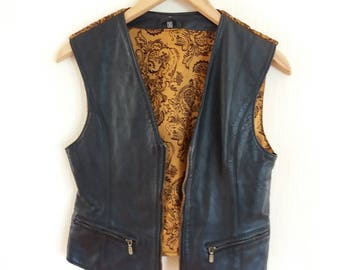 Vintage Black Genuine Leather Vest Small Size