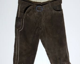 Bavarian 80s Authentic Suede Leather Oktoberfest Folklore Brown Hammerschmid Trachten Tyrol Austrian Alpine Pants Medium