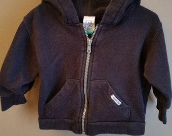 Vintage, Baby Gap zip up black hoodie sweatshirt, Vintage baby clothes, vintage Baby Gap, vintage GAP kids clothing, size 6-12 months