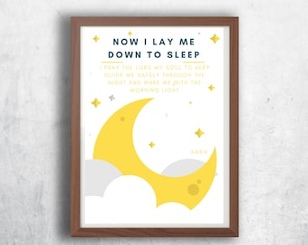 now I lay me down to sleep - prayer kids print