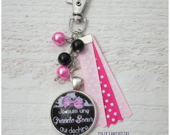 "Bag charm / bag Grigri ""I'm a big sister who rocks"""