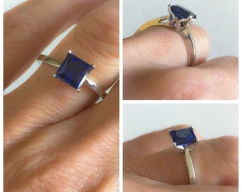 Engagement Ring Princess Cut Blue Sapphire 14kt White Gold Engagement Ring Wedding Ring Blommed Love Ring Princess cut ring