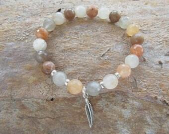 Moonstone Stone Gemstone Sterling Silver 'Wing' Charm Stretch Beaded Bracelet