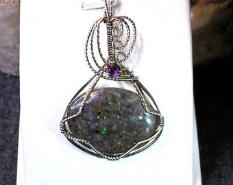 Louisiana Black Opal (Extremely Rare) Pendant with Amethyst - Wonderful Fire!!! (lo139)