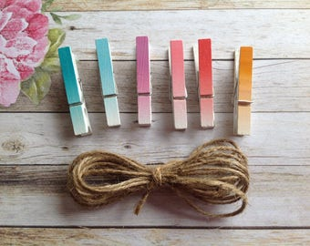 6 mini pegs with jute twine, pegs, wooden pegs, ombré wooden pegs, coloured pegs,clothespins, craft pegs