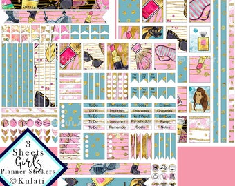 INSTANT DOWNLOAD - Girl Boss printable planner stickers, ECLP stickers download, Bachelorette Party printable stickers, girl sticker pack