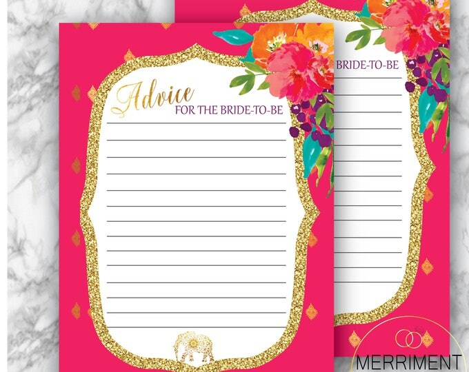 Indian Themed Bridal Advice Card / Bride to be / Elephant / Gold / Fuschia / Paisley / Bollywood / Instant Download / JAIPUR COLLECTION
