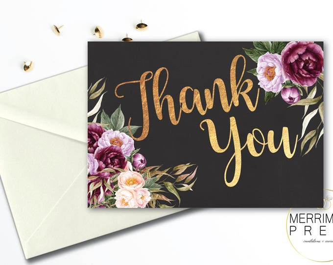 Burgundy Folded Thank You Card // Folded Thank You // Purple // Chalkboard // Rustic //  Watercolor // Printed // FLORENCE COLLECTION