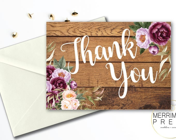 Burgundy Thank You Card // Floral Watercolor Thank You // Wood // Rustic // Folded // A1 // Gold // Instant Download // FLORENCE COLLECTION