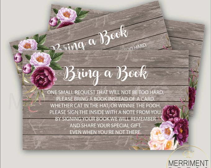 Burgundy loral Bring a Book Card // Gold // Watercolor // Rustic // Wood // Peony // Gray / Pink // Purple // Printed // FLORENCE COLLECTION