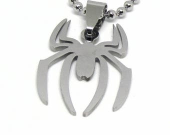 """Spiderman Logo Stainless Steel Necklace 23"""" Ball Chain"""