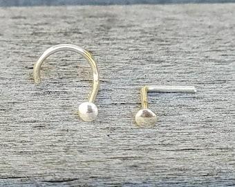 TinyNoseStud - Small Nose Stud - 14 kt gold filled  - 1.5-2mm Flat Disk - 20 Gauge - Nose Stud - Nose Ring - sterling silver