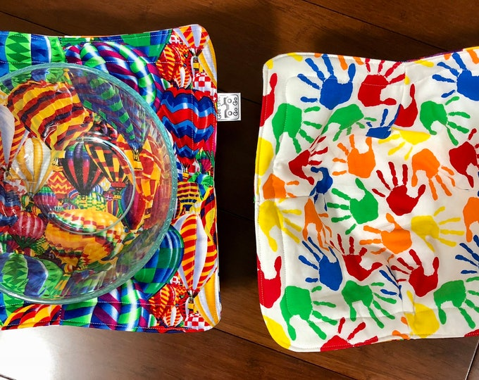 Hotair Balloons and Hands / Microwave bowl cozies SET OF TWO